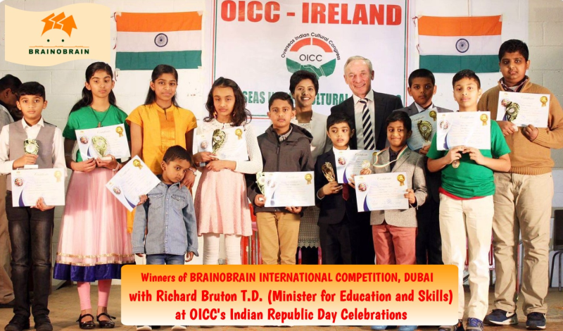 Brainobrain Interational Competition winners with Richard Burton T.D., Minister for Education, Ireland